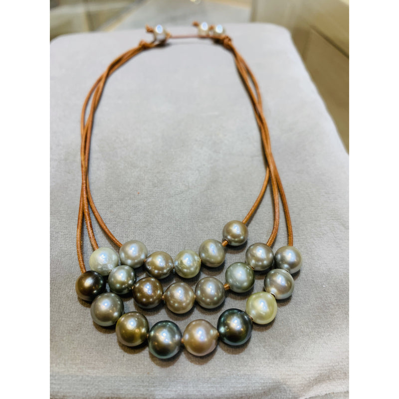 Tahitian Pearl Triple Strand Moorea Necklace