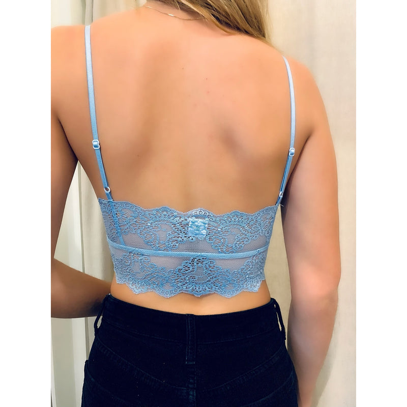 Eco Rib w/ Lace Bralette in Blue Chip