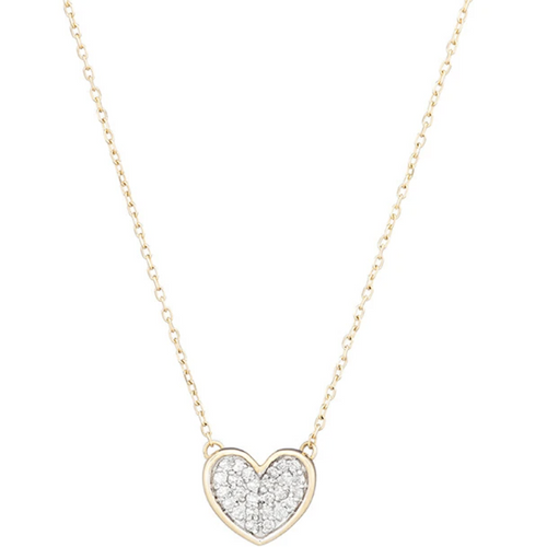 Tiny Pave Folded Heart Necklace- 14K Yellow Gold