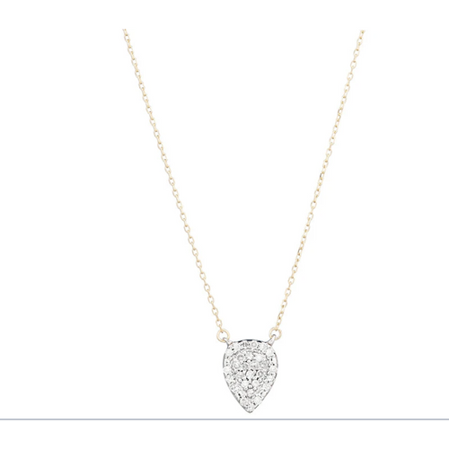 Pave Teardrop Necklace 14K a SS