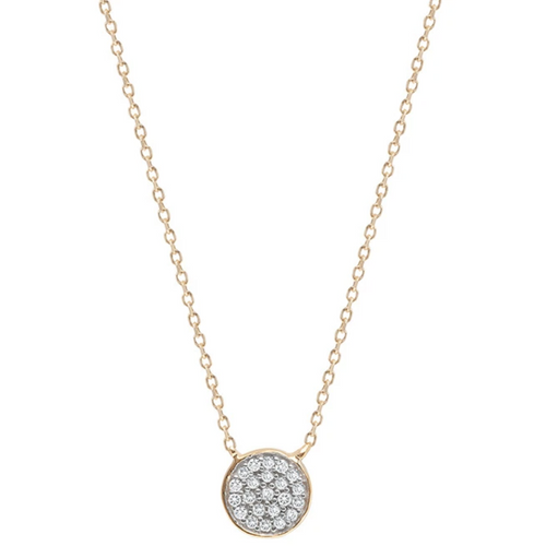 Pave Disc Necklace 14k Gold