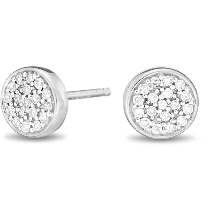 Pave Disc Posts -Sterling Silver