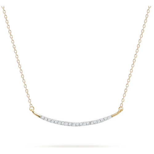 Large Pave Curve Necklace 14K