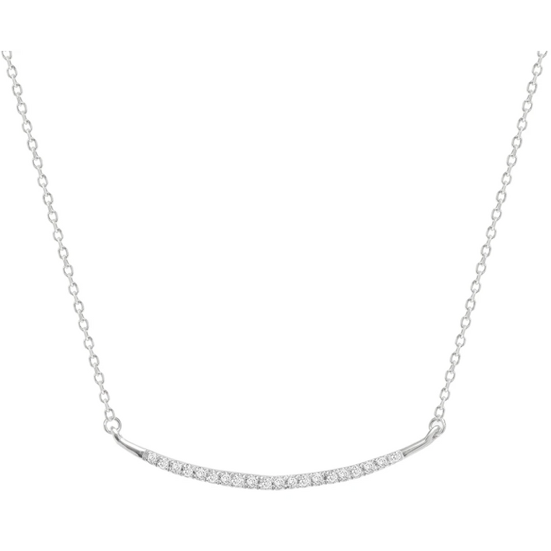 Large Pave Curve Necklace Sterling Silver