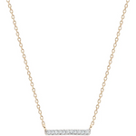 Pave Bar Necklace 14k Yellow Gold
