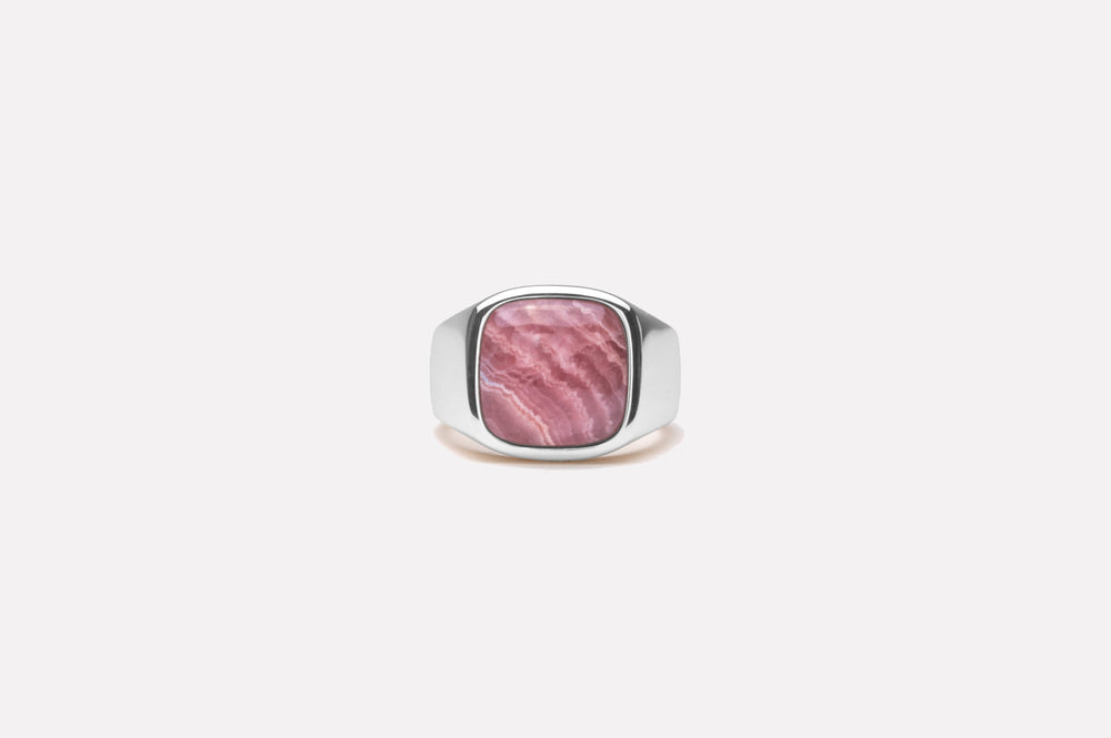 IX Cushion Signet Ring Rhodocrosite Silver