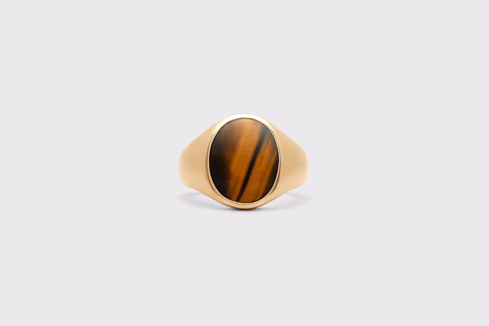 IX Oval Signet Ring Tiger Eye