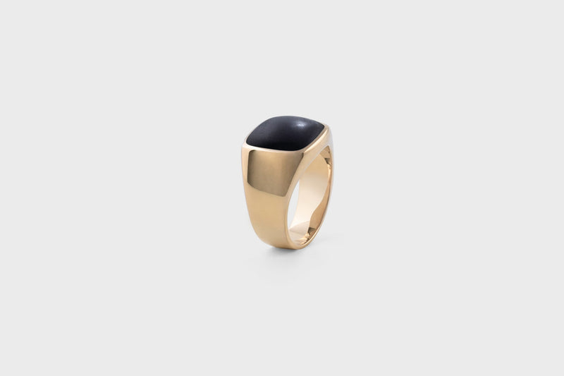 IX Cushion Signet Ring Black Onyx
