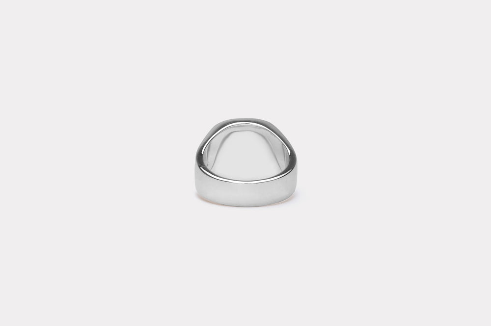 IX Cushion Signet Ring Hawks Eye Silver