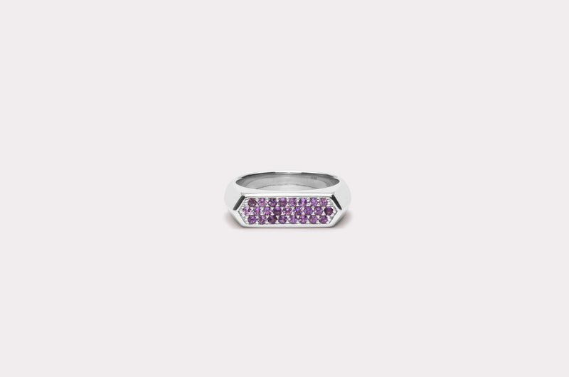 IX Mini Hexagon Ring Purple Silver