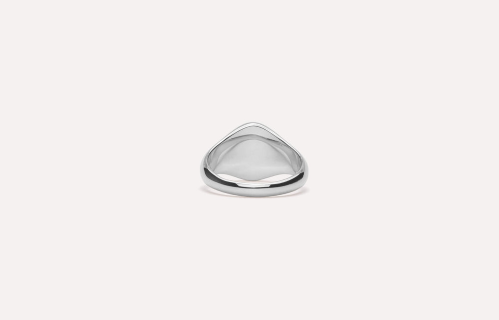 IX Mini Oval Signet Ring Silver