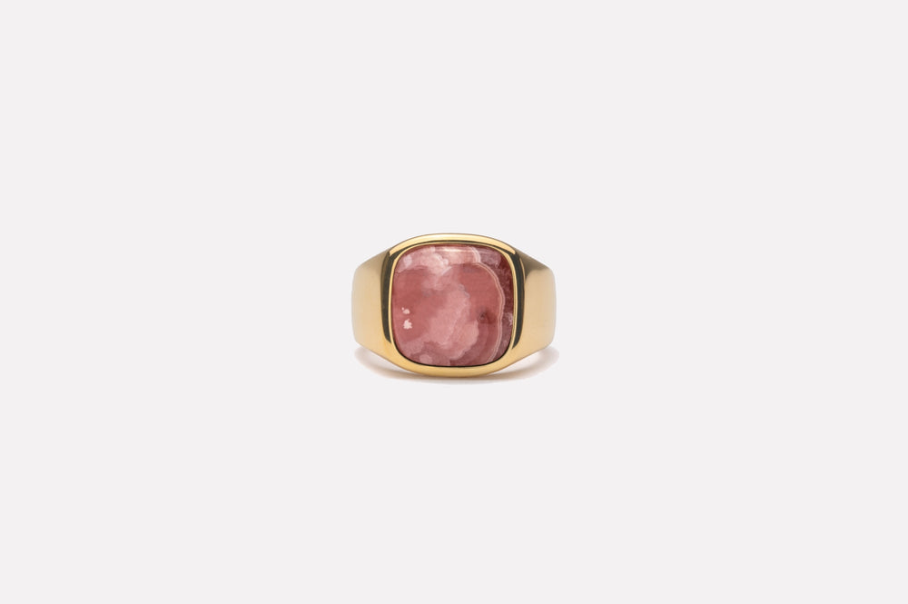IX Cushion Signet Ring Rhodocrosite