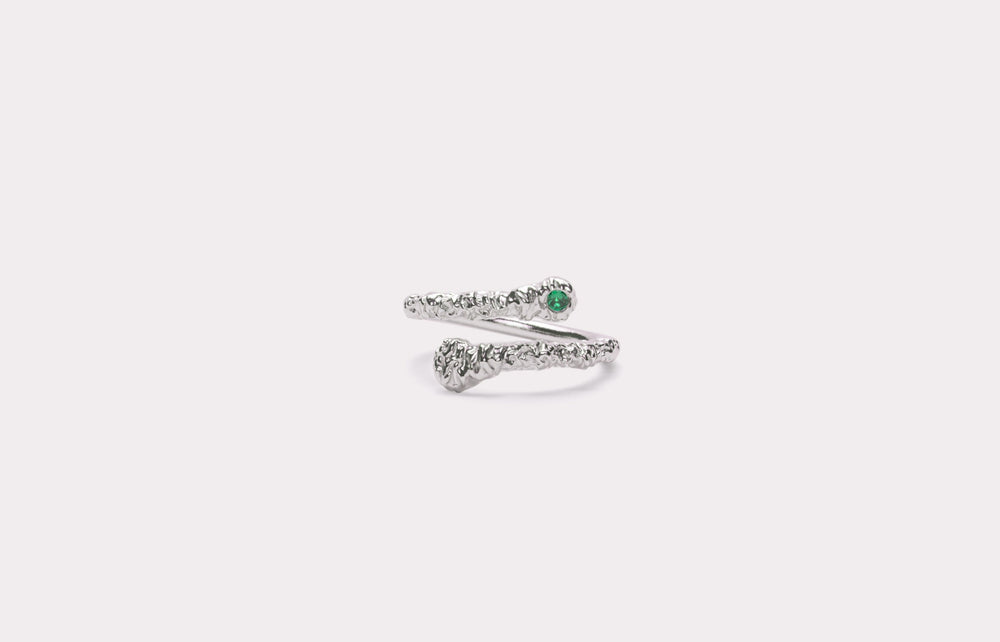 IX Crunchy Green Nature Ring Silver
