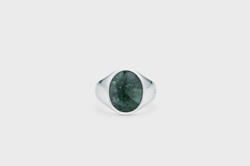 IX Oval Signet Ring Green Marble Silver