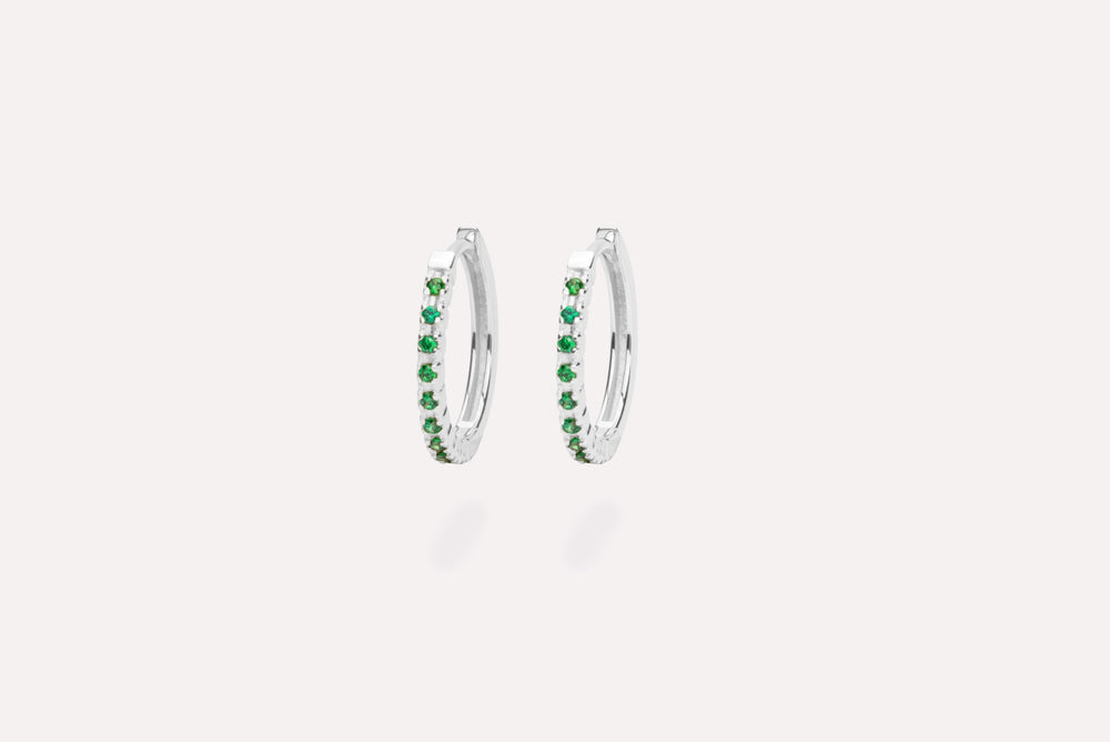 X ETERNITY GREEN EARRINGS SILVER
