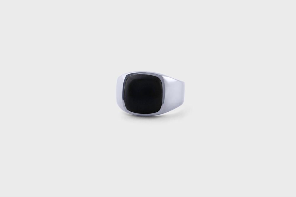 IX Cushion Signet Ring Black Onyx Silver