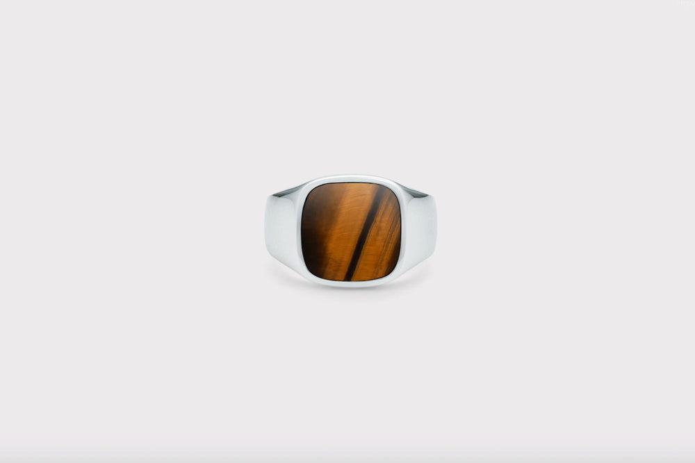 IX Cushion Signet Ring Tiger Eye Silver