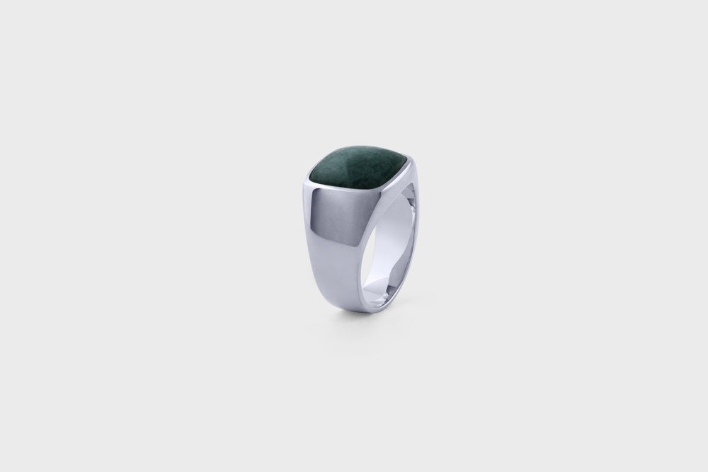 IX Cushion Signet Ring Green Marble Silver