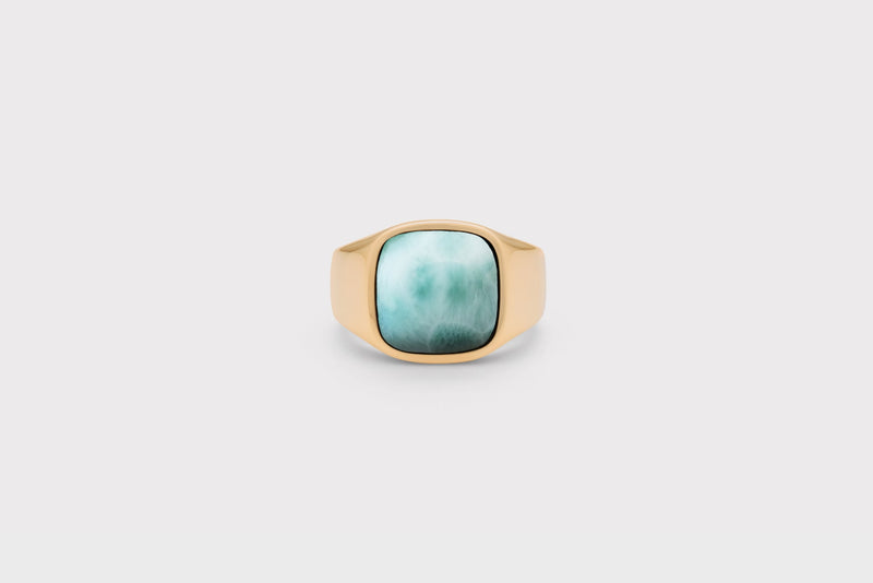 IX Cushion Signet Ring Larimar