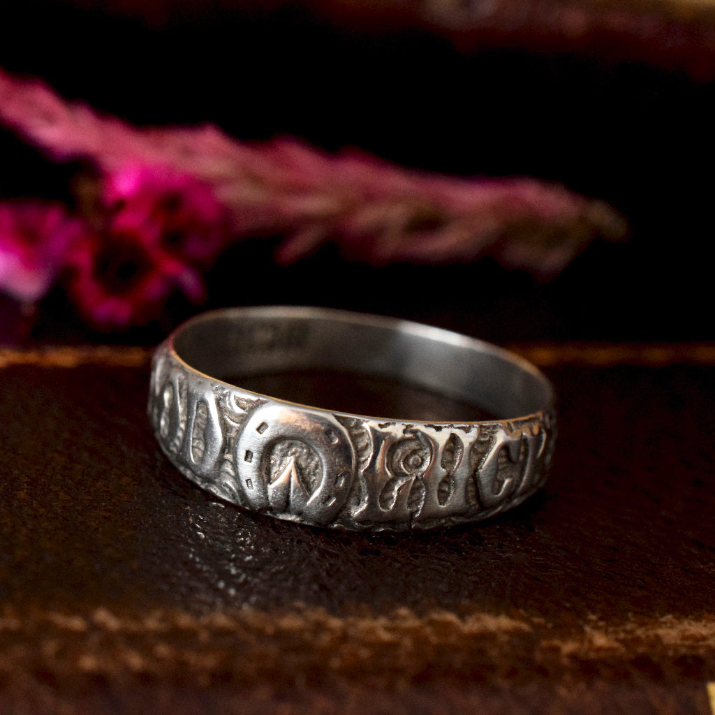 Antique Sterling Silver 'Goodluck' Ring dated 1900
