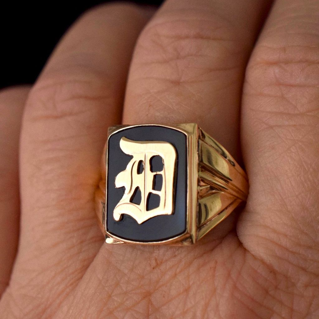 "Authentic  Art Deco 10K Onyx And Yellow Gold Monogram ""D"" Ring 1930's"