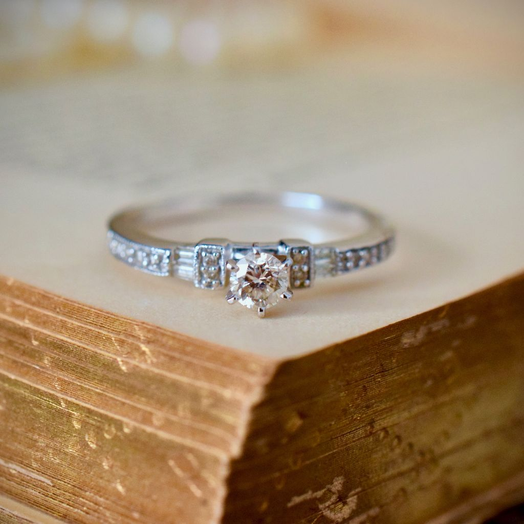 Modern 18ct White Gold Diamond Engagement Ring