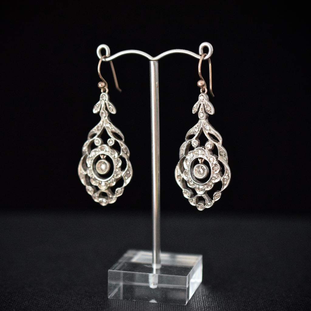 Late Georgian Early Victorian Rose-Cut or 'Senaille' Cut Diamond Drop Earrings