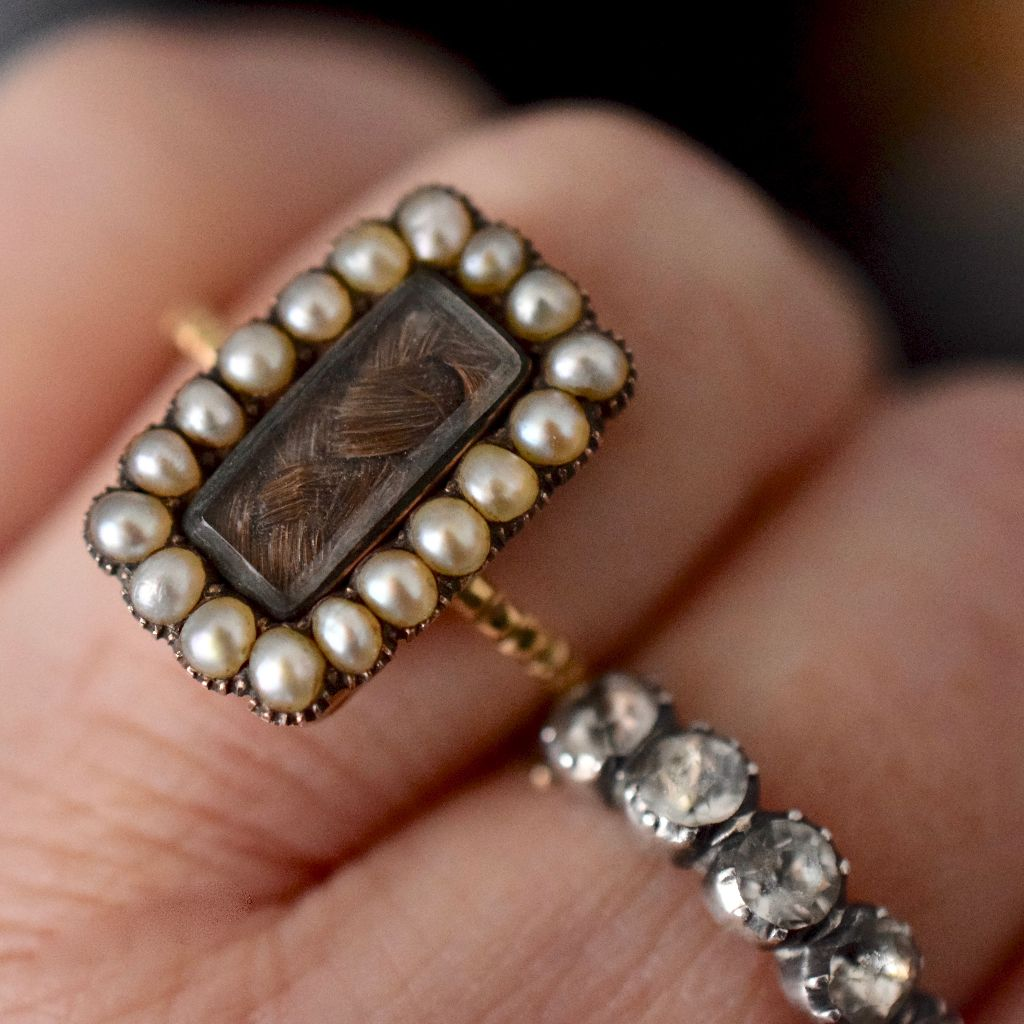 Georgian Natural Seed Pearl Mourning Hair Locket Ring Circa 1820