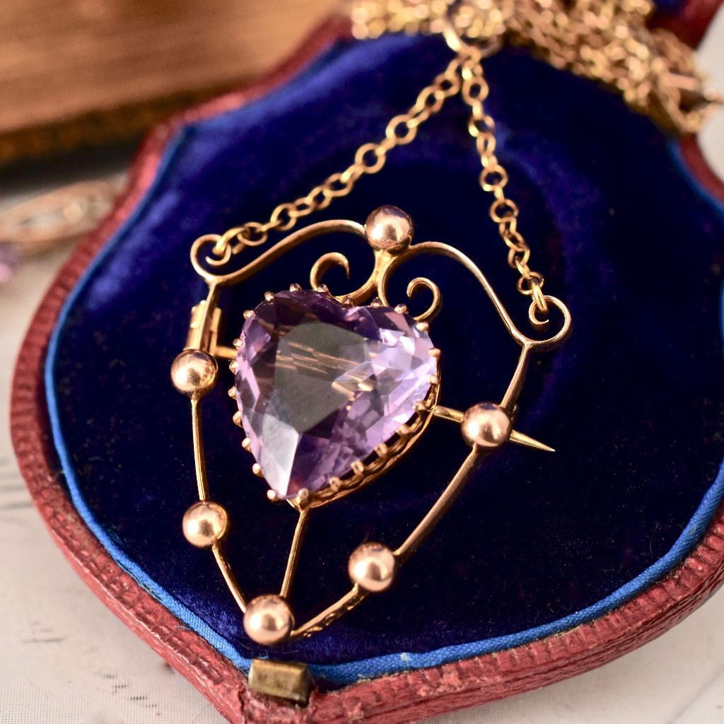 Superb Early Australian 9ct Rose Gold Amethyst 'Willis & Sons' Pendant/Brooch