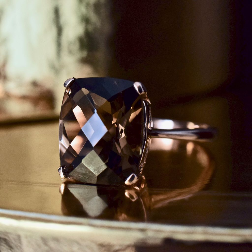 Modern Cushion Checkerboard Cut Smoky Quartz 9ct Rose Gold Ring