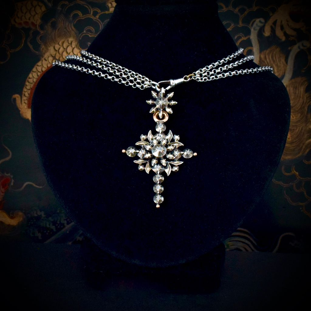 Antique Early Victorian Belgian 'Flemish' Diamond Cross Circa 1850