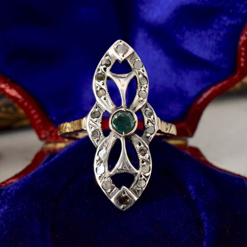 Superb Antique Emerald And Diamond 'Navette' Style Ring