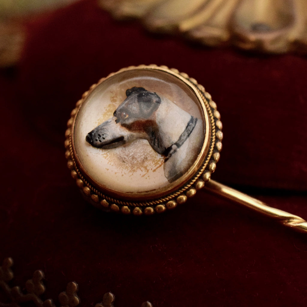 Victorian Essex Crystal Reverse Painted Intaglio 16ct Gold Circa 1875