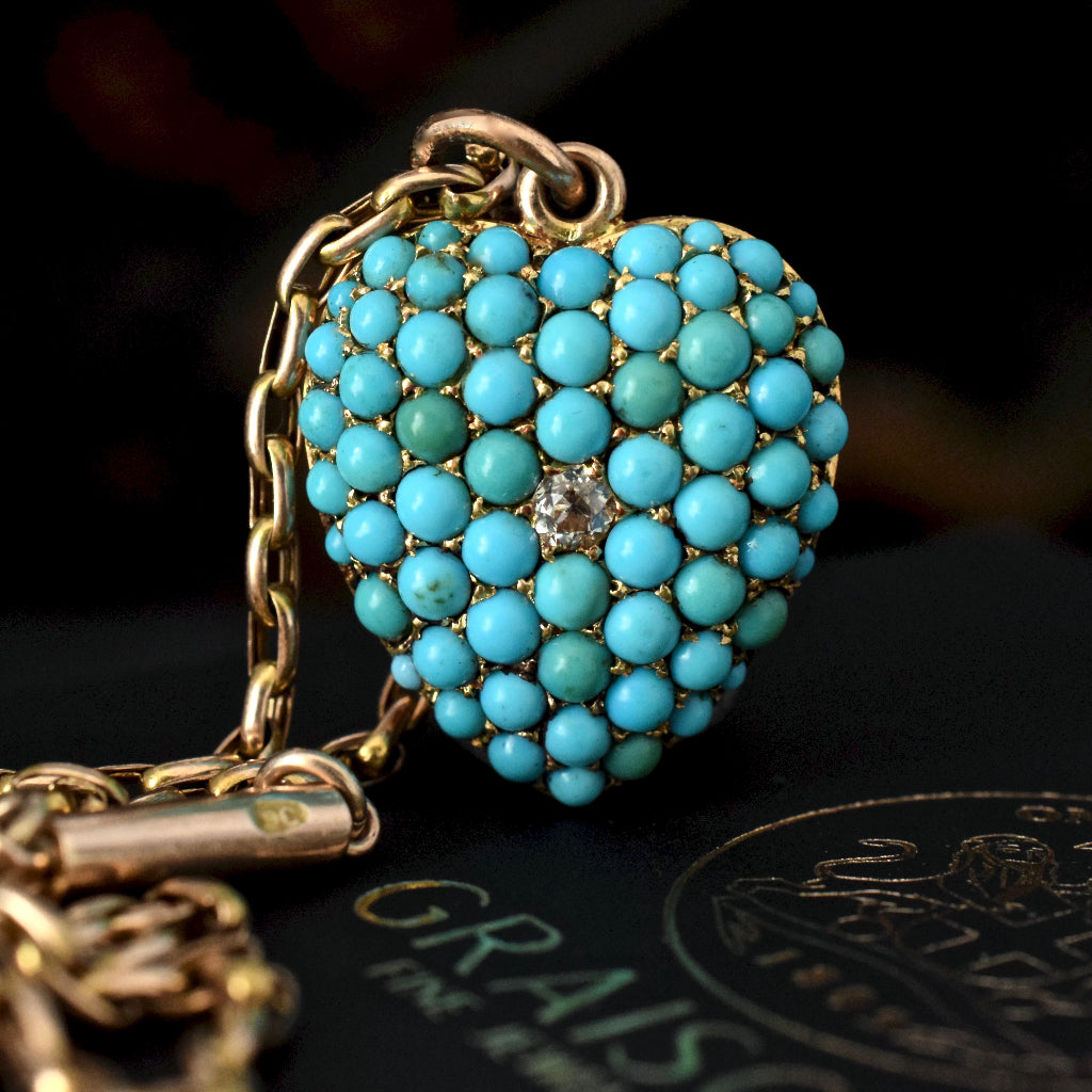 Antique Victorian Circa 1885 Turquoise And Diamond Heart Pendant