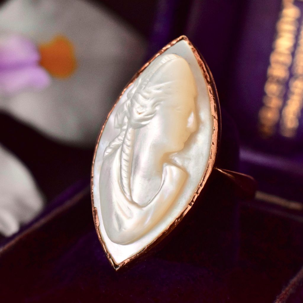 Remarkable Late Victorian 9ct Rose Gold Mother Of Pearl Cameo Ring by Stewart Dawson Circa 1900