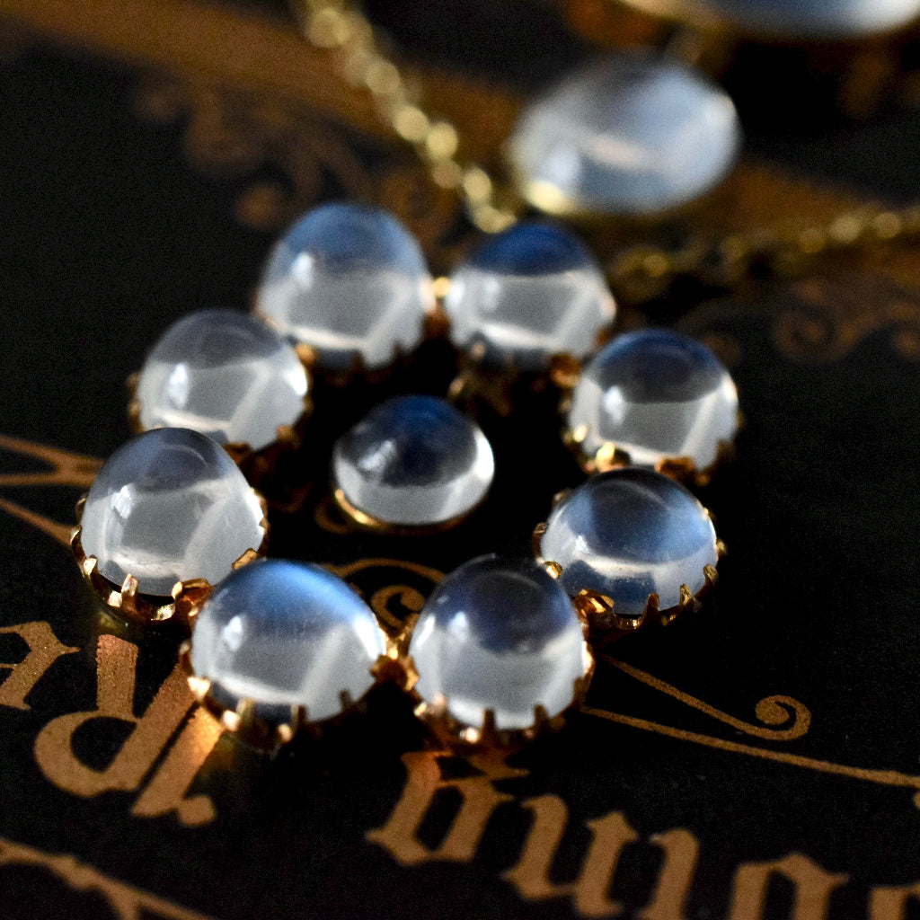Antique Edwardian 9ct Yellow Gold Moonstone Necklace