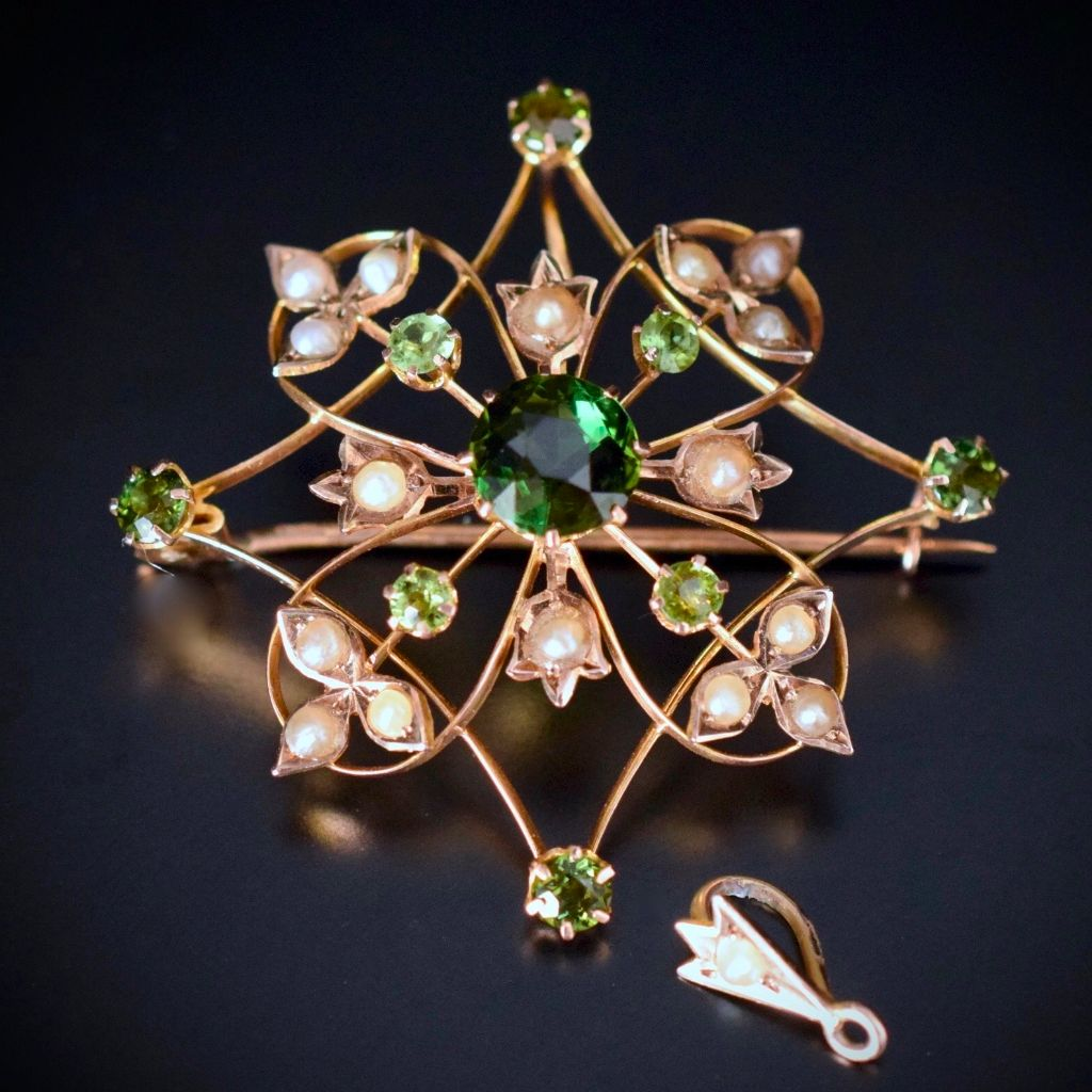 Wonderful Green Tourmaline 9ct Yellow Gold Combination Brooch / Pendant Willis and Sons circa 1910