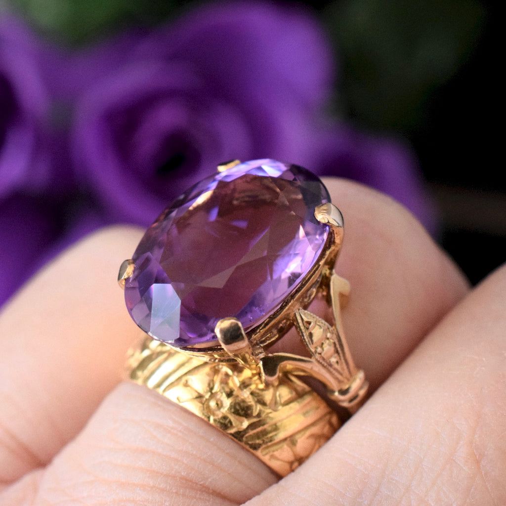 Vintage Large Oval Faceted Amethyst 9ct Yellow Gold British Hallmarks 1963