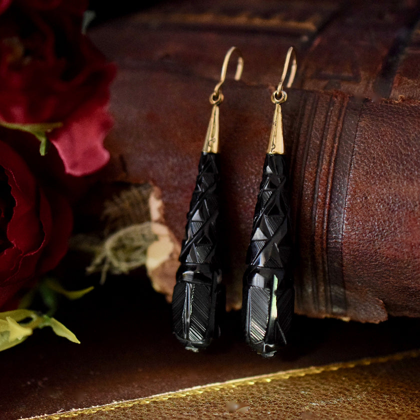 Victorian Carved Whitby Jet Drop Earrings Circa 1880