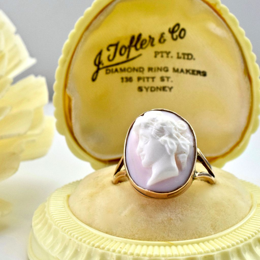 Antique Conch Shell Rose Gold 9ct Ring