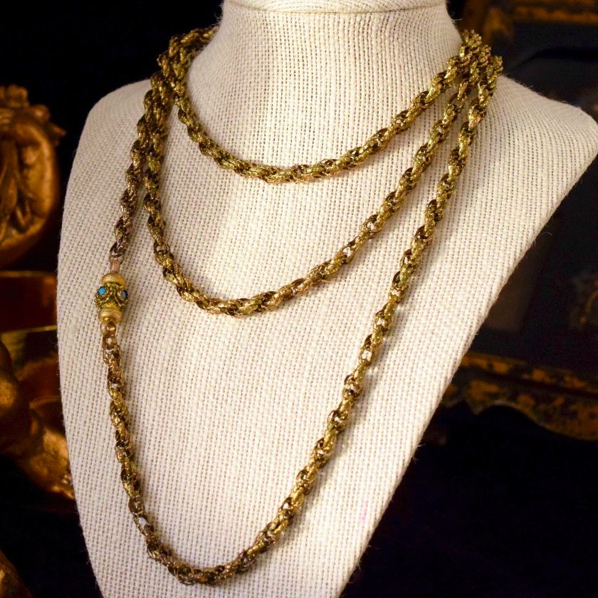 Antique Georgian Pinchbeck Long Chain / Muff Chain Circa 1820