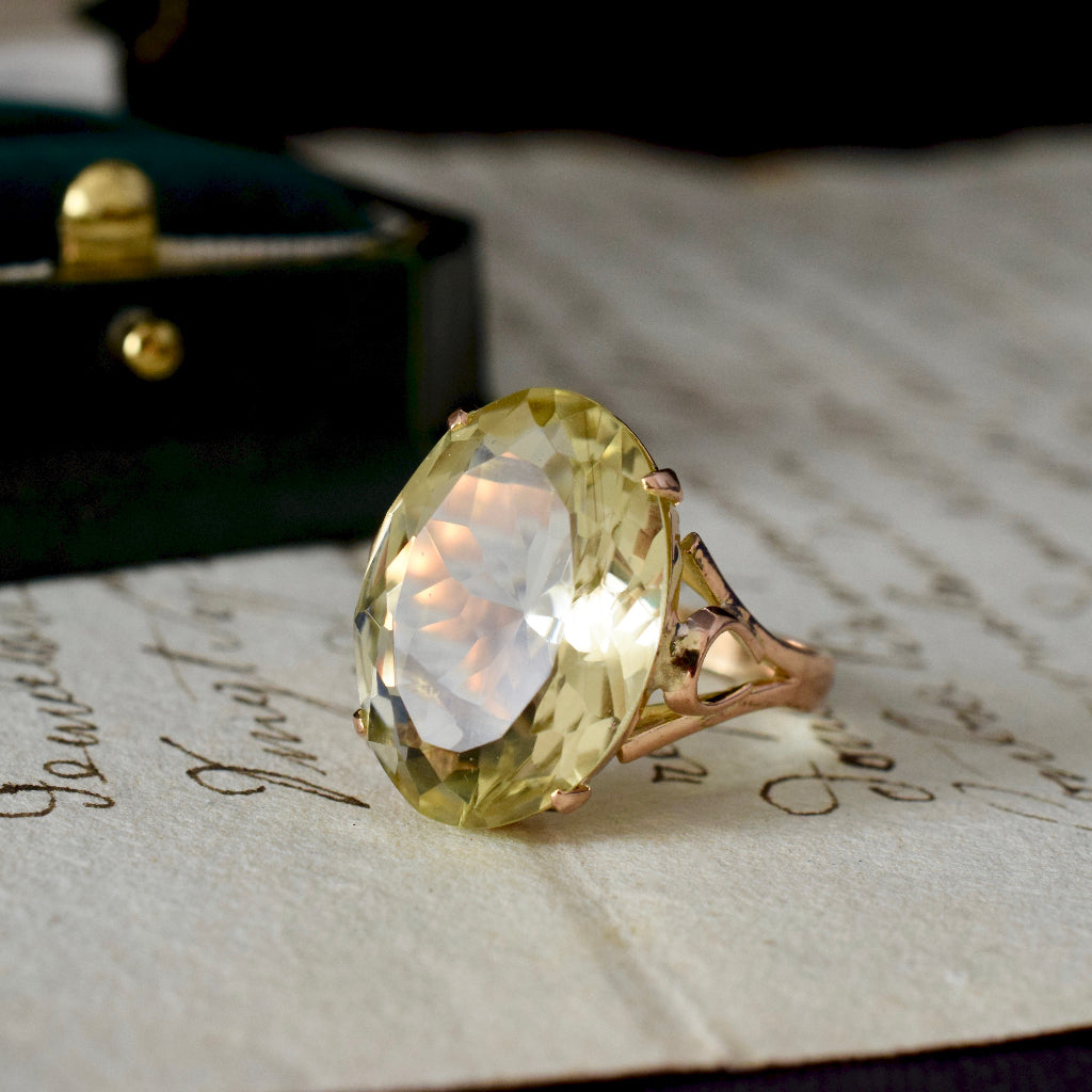 Stunning 15ct Rose Gold Pale / Lemon Citrine Ring