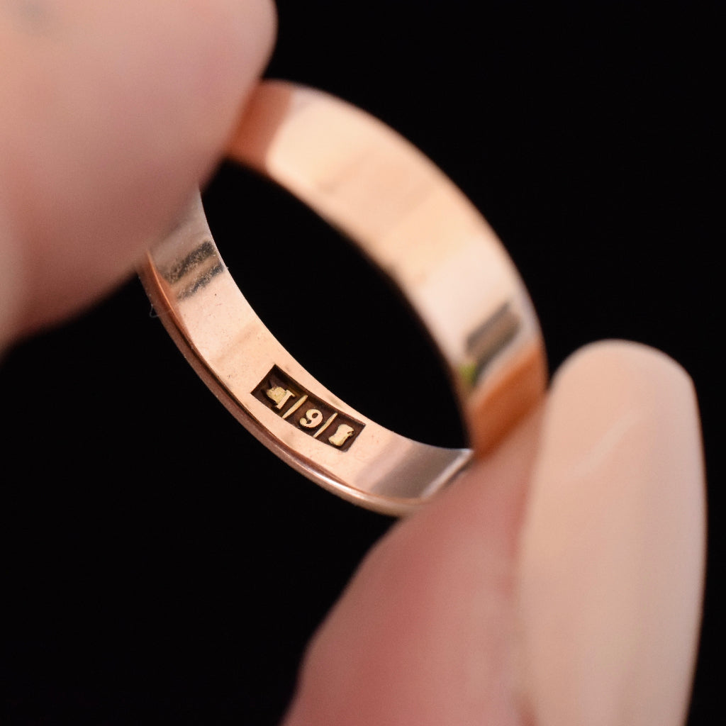 Antique 9ct Rose Gold Band by Aronson and Co Circa 1915