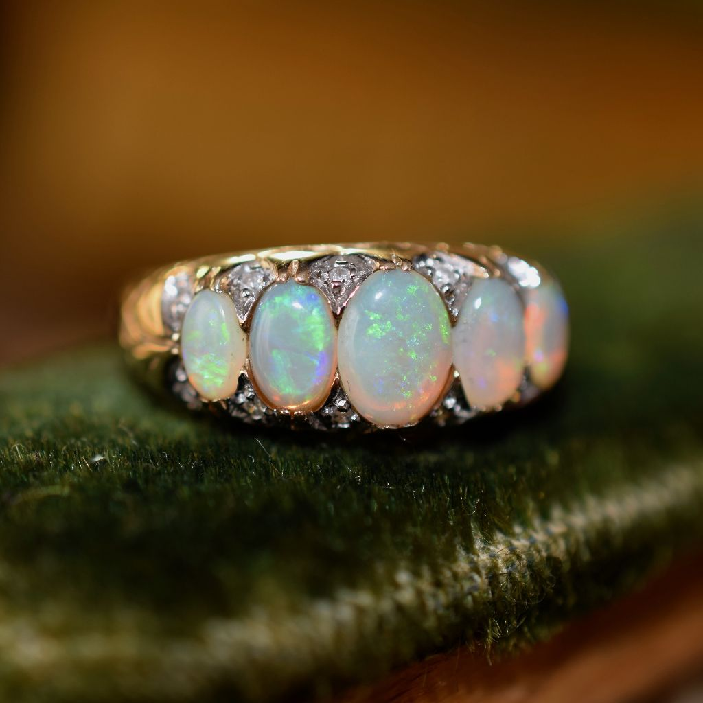 Stunning Five Stone Opal And Diamond 9ct Yellow Gold Ring