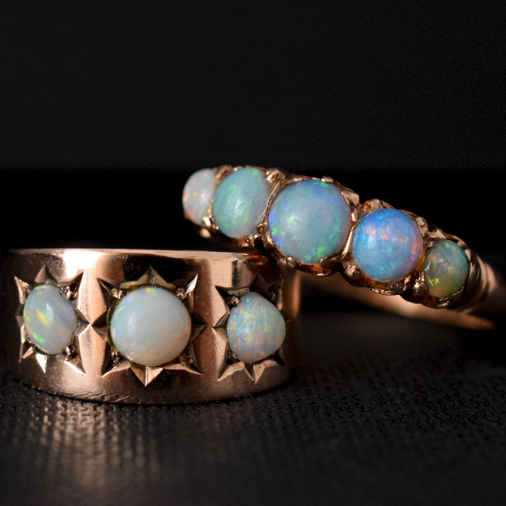 Antique Early Australian Opal Half-Hoop 15ct Gold Ring Circa 1905 by 'A.Macrow'