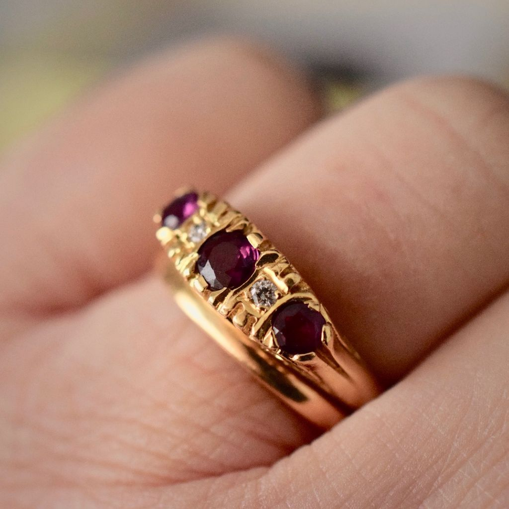 Vintage 18ct Yellow Gold Ruby And Diamond Trilogy Ring