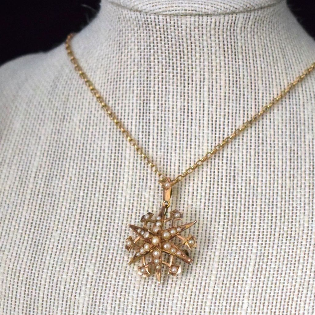 Lovely Victorian Starburst 9ct Yellow Gold Seed Pearl Pendant / Brooch Circa 1890