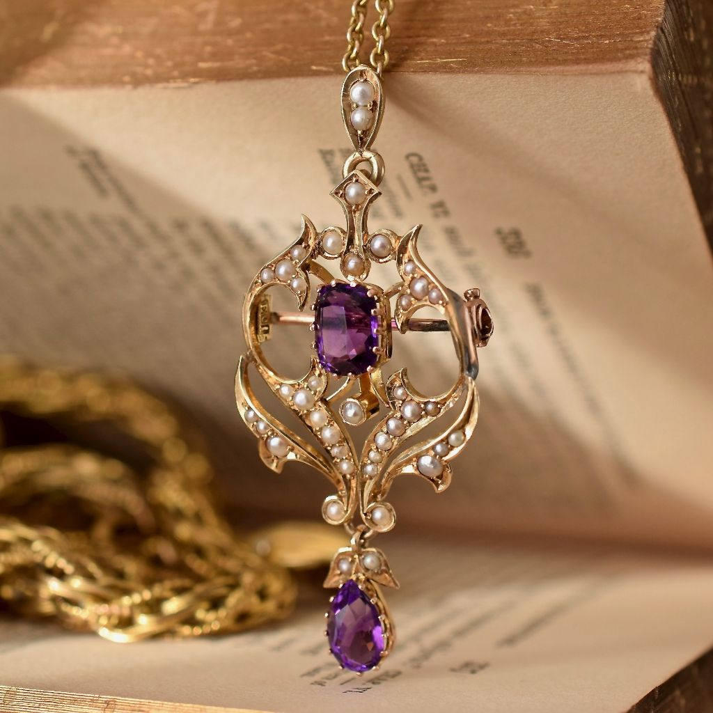 Magnificent Victorian 15ct Yellow Gold Amethyst Seed Pearl Pendant / Brooch Circa 1900