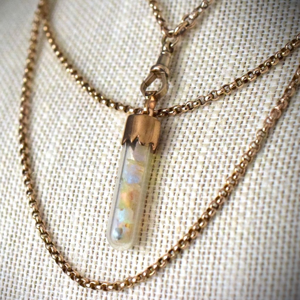 Antique 9ct Rose Gold 'Floating' Opal Glass Phial Vial Circa 1890's