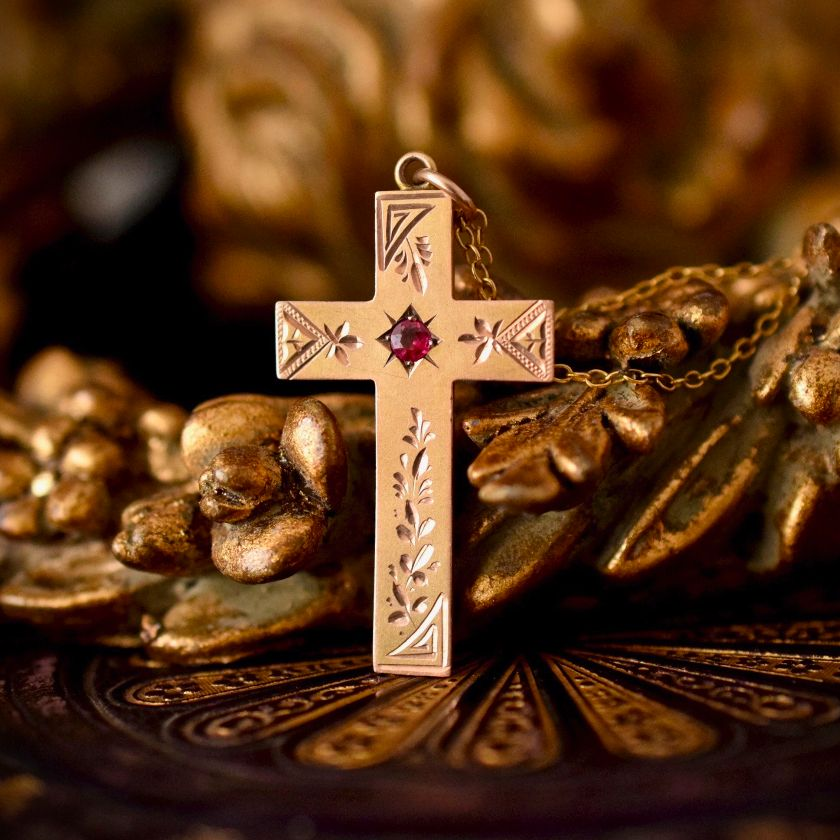 Antique Cross/Crucifix 9ct Rose Bloomed Gold by Robert Rollason, Sydney Circa 1910